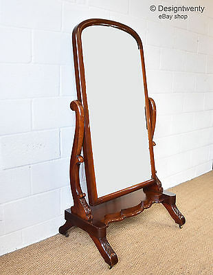 ANTIQUE VICTORIAN LARGE MAHOGANY CHEVAL MIRROR GLASS Tilting 1880