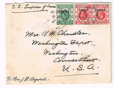 Hong Kong Treaty Port GB Offices In China O/P Tientsin to USA Cover 1921