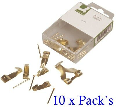 120 x Brass Picture Hooks & Pins Assorted Sizes (10 x Packs of 12) B1HG#