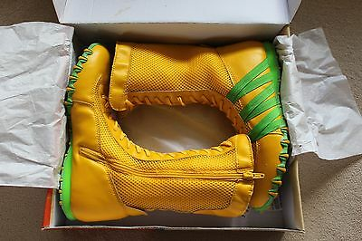 New BULLION Boxing Wrestling Training Boots - Yellow Zip Up High Tops / Cosplay
