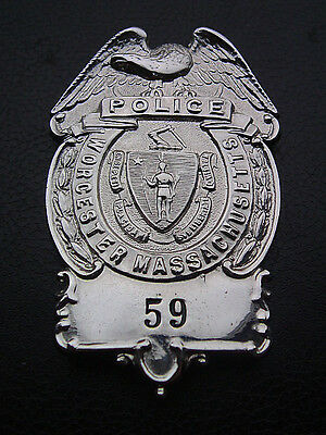 OBSOLETE, DEFUNCT 1980s WORCESTER MASS POLICE BREAST BADGE
