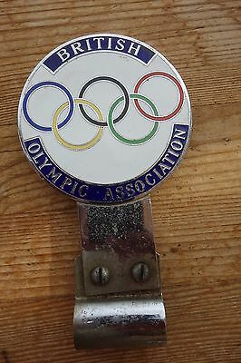 Vintage British Olympic Association Club Car Badge C/w Bar Fixing Bracket