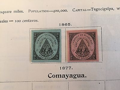 Pages from 1898 album Honduras mint and used collection