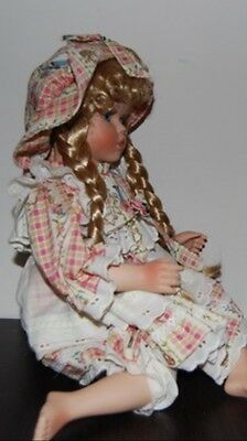 Beautiful Porcelain Doll for Collectors- Blond Hair and Floral Dress