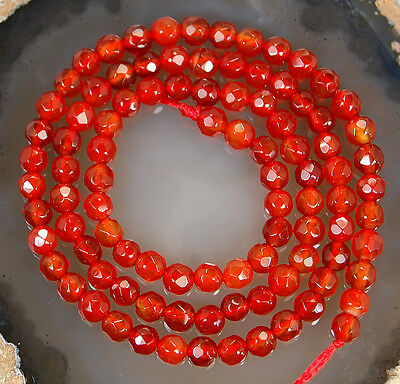 """4mm Faceted Red Agate Round Beads 14.5"""""""