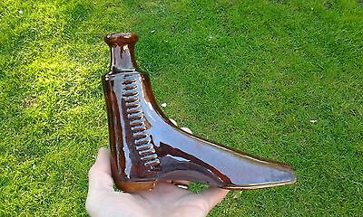A Lovely Early Large Treacle Glaze Boot Flask 1830.