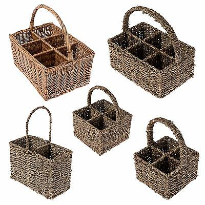 Natural Willow Wicker and Seagrass Cutlery Glass Divider & Bottle Divider Basket