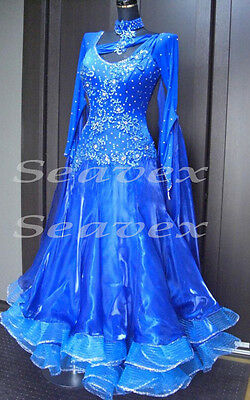 Women Ballroom Smooth Competition Standard Dance Dress US 10 UK 12 Blue Lace