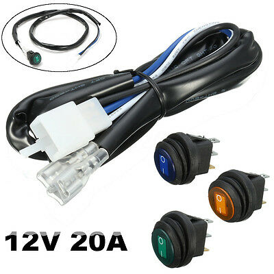 Car Boat Round Rocker Toggle Switch ON OFF With Wire LED Light Waterproof 12V
