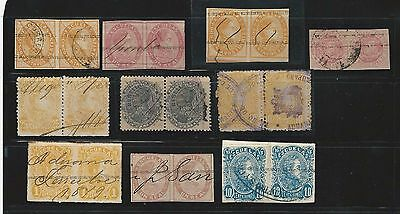 Venezuela: Pairs 10, classic stamps, some interesting cancellation. VE1087