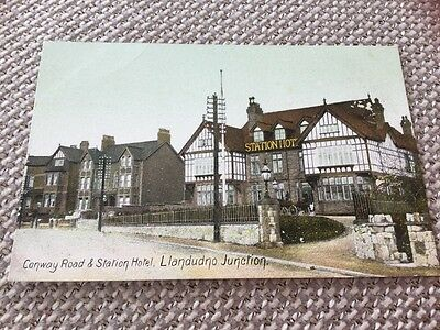 Conway Road & Station Hotel Llandudno Junction Wrench Series Colour Postcard
