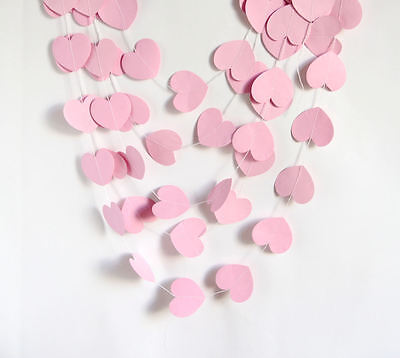 10ft Light Pink Love Heart Paper Garland Wedding Baby Shower Party Decoration