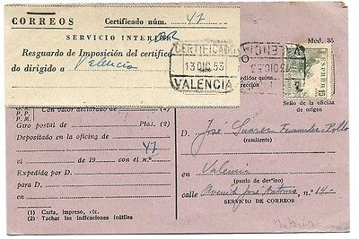 Spain: Receipt notice, circulated in Valencia, 1953, complete EB0173