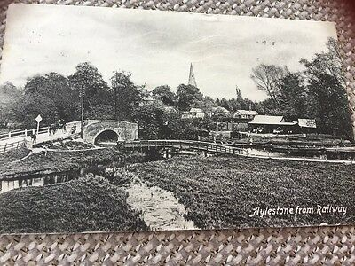 1915 Aylestone Leicester From Railway Postcard River Soar Pony Trap Cycles Etc