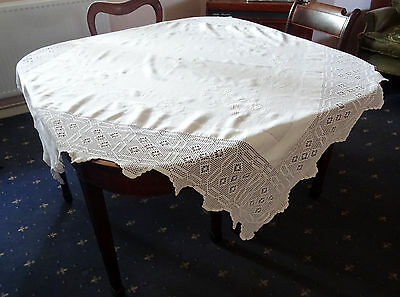 Vintage White Embroidered Tablecloth With Deep Crochet Border- 160 cm Square