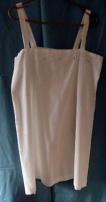 Vintage 1930's White Handmade Embroidered & Drawn Fabric Cotton Slip
