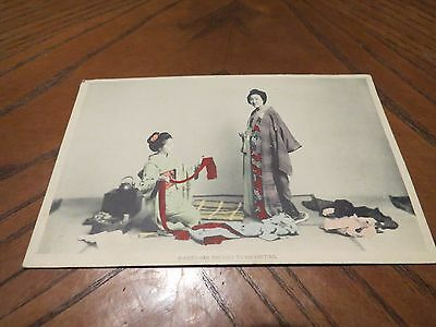 Vintage Postcard O Koto San Dresses To Go Visiting Japan Japanese Traditional