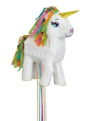 White Unicorn Pull String Pinata Pk 1