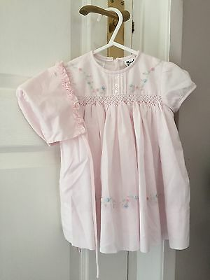 Baby Girls Designer Dress and Hat Bonnet Outfit Sarah Louise Pink 6-9 Months