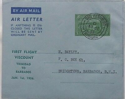 Trinidad 1955 Air Letter With 5 Cents Imprint For Viscount First Flight Barbados