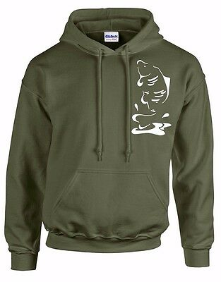 Carp Clothing, *** Sale!! *** Olive Green Hoody,  Leaping Carp (Size Xxl)