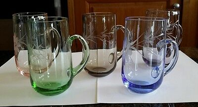 Vintage etched coloured glasses with handles - set of 5