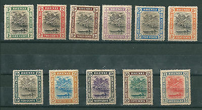 BRUNEI 1907 DEFINITIVE SET to $1 lightly mounted mint. Gum toned