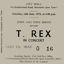 T Rex Marc Bolan Concert Coasters concert Ticket June 1972 High quality mdf
