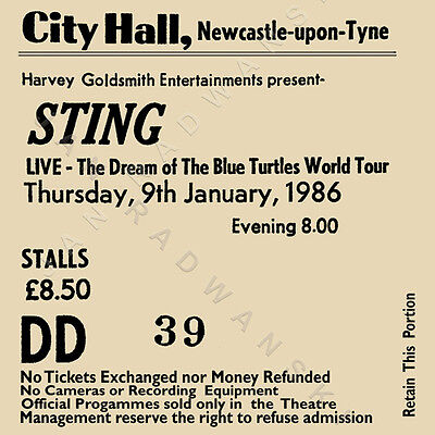 Sting/The police concert ticket high quality coaster January 1986