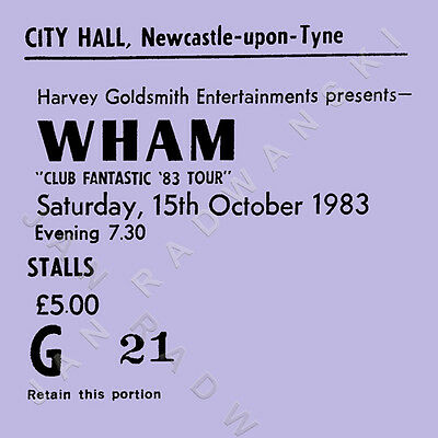 Wham/George Michael Concert Coasters October 1983 Ticket High quality Coaster