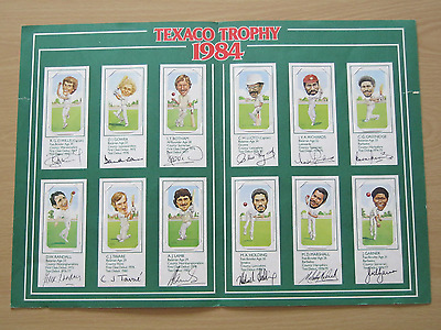 Original 1984 Texaco Trophy Cricket Card Set in Folder .. Quite Good