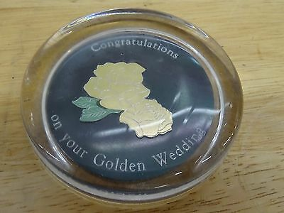Golden Wedding Anniversary Glass Paperweight