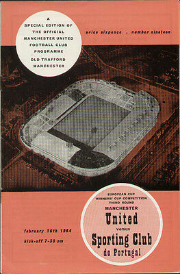Manchester United V Sporting Club de Portugal Cup Winners Cup 1964