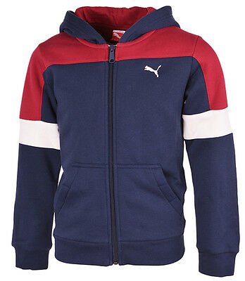 Puma Kinder TD HOODED SWEAT JACKET F , Peacoat-Biking Red , 829693-02 , Neu,OVP