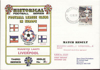Kuusysi Lahti V Liverpool UEFA Cup 1991 Dawn First Day Cover