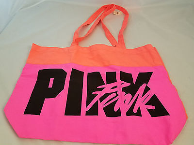 Victorias Secret PINK Neon Colors Orange Logo Canvas Beach Bag Large Tote NEW