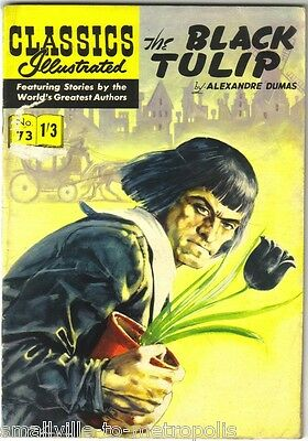 Classics Illustrated #73  The BLACK TULIP A Dumas RARE UK PAINTED CVR 1/3d 1961