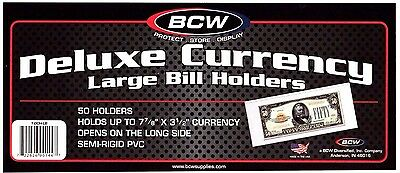 100- Large Bcw Deluxe Currency Money Sleeve Bill Paper Note  Holders Semi Rigid