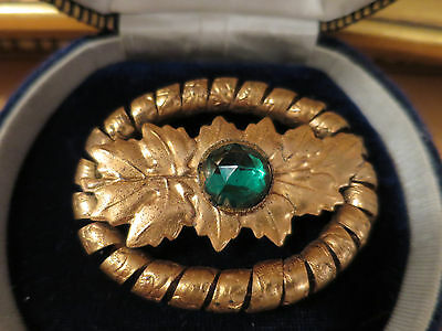 Vintage Antique 'c' Clasp Late 1800's Brooch, With Gold Finish & Green Stone