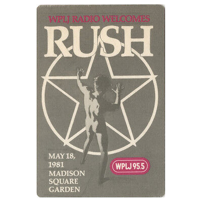 Rush authentic 1981 Moving Pictures tour Backstage Pass Radio Promo Madison S G