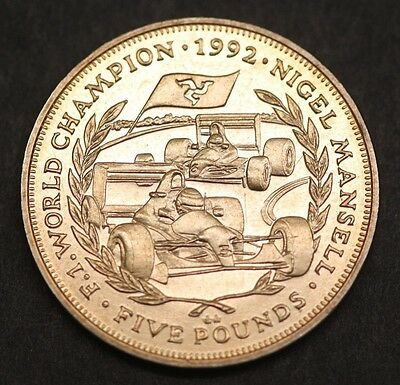 Isle of Man 1992 1993 Nigel Mansell World Champion Five pound £5 Coin