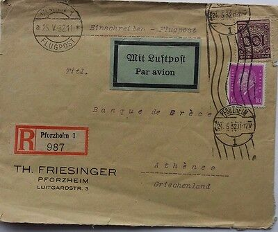 Germany 1932 Commercial Registered Airmail Cover To Greece + Nice Airmail Label