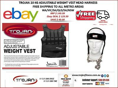 Weight Vest 20 Kg Adjutable Weighted Vest Crossfit Training + Head Neck Harness