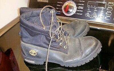 Black colored Timberland work boots. Size 10M