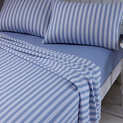 Blue Stripe King Size Sheet and Pillowcase Set