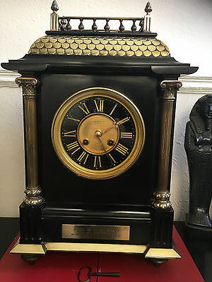 Magnificent And Rare Large Victorian Black Marble Slate Clock J. W. Benson