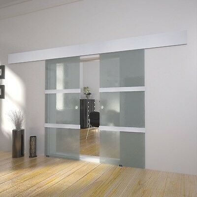 Double Sliding Doors Space-saving Modern Bright Translucent Glass Sturdy Home