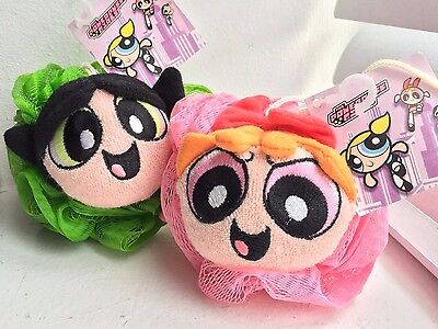2pcs Powerpuff Girls 2000 Plush Toy Bath Toy shower sponge Blossom Buttercup