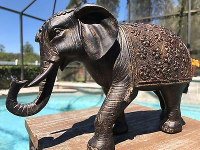 "11"" Brown TRUNK UP ELEPHANT STATUE Feng Shui Spring Home Decor Lucky Good Luck"