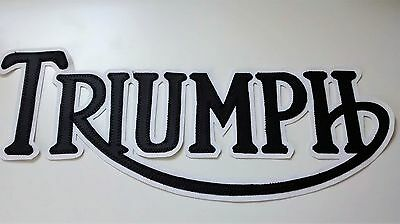 Triumph Motorcycles 12 Inch Patch Black Lettering With White Synthetic Leather
